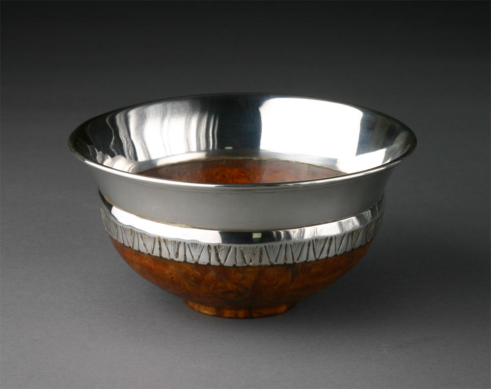 Mazer, burr rowan and silver by Robin Wood now in the collection of Dr Rowan Williams, Archbishop of Canterbury